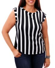 T19 New Womens Size 16/18 Black/White Striped Summer Beach Party Tops Blouse