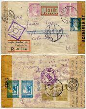 TURKEY AIRMAIL PAA + BOAC DOUBLE CENSORED EGYPT USA ATLANTIC COLUMBUS REGISTERED