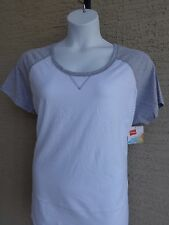 NWT Hanes Cotton Blend Raglan S/S Scoop Neck Baseball Tee Shirt 2X White/gray