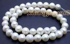 """SALE Big 11-12mm White Natural Freshwater round pearl Loose Beads 14""""-los45"""
