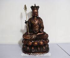 19 China Pure Bronze Tang Monk Lotus Jizo kshitigarbha Bodhisattva Buddha Statue