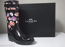 Coach Traisha II Black Floral Print Leather Trim Rain Boots Q8010 Size 9