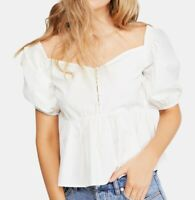 Free People Women's Blouse White Size Large L Puff Sleeve Button Front $68- #237
