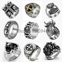 Heavy 316L Stainless Steel Mens Skull Cross Gothic Punk Biker Ring Size 7-14