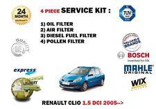 Per RENAULT CLIO 1.5 dCi TD 9/2005 - > Olio Aria Carburante Polline 4 Filtro Servizio Kit