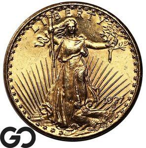 1927 Double Eagle, $20 Gold St Gaudens, Sharp Gem BU++ ** Free Shipping!