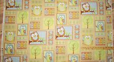 "You Whoo Owl Blue & Yellow Blocks by Henry Glass Fabric Panel   23"" #6107"