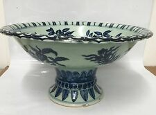 Large blue and white stem bowl. Ming Xuande Mark.