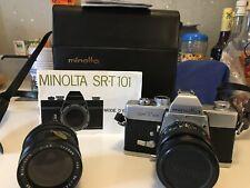 Minolta SR-T 101 camera co,ltd MD Rokkor f50mm , 1:1.7 + Soligor f28mm, 1:2.8 wi