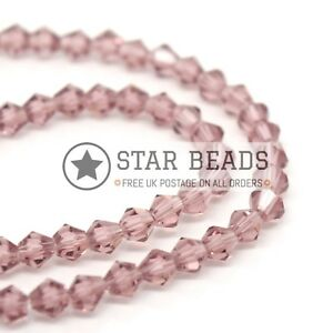 FACETED BICONE CRYSTAL GLASS BEADS 4MM,6MM,8MM - PICK COLOUR