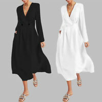 Women's Plus Size Long Sleeve Wrap Midi Holiday Ladies Casual Office Party Dress