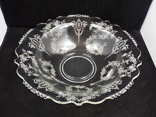 """Tiffin Cherokee Rose Etched Crystal Beaded Large Flared Bowl, 13"""""""