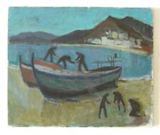A 1940's Johnsson Cloffe oil painting Banyuls France beach / fishing scene