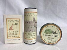 Crabtree & Evelyn GARDENERS HAND SET - Scrub Bar/ Scrub Grains/ Lettuce Soap