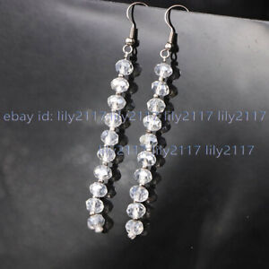 Faceted 4x6mm White Crystal Glass Rondelle Long Dangle Drop Silver Hook Earrings