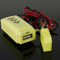 12V Motorcycle Bike Waterproof USB Cellphone Charger Power Socket with Plug LED