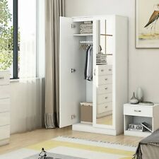 White High Gloss 2 Door Mirrored Wardrobe Bedroom Furniture. Wood Effect Frame.