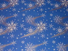 VTG CHRISTMAS WRAPPING PAPER GIFT WRAP MID CENTURY BLUE SNOW FLAKES 1940