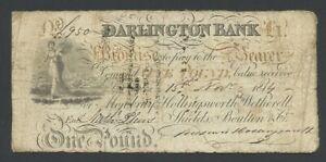 ENGLAND Darlington Bank £1  1814  Provincial Banknotes