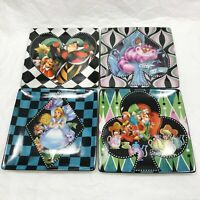 4 Pcs Disney Parks Alice In Wonderland Dessert Plates Cheshire Mad Hatter Queen
