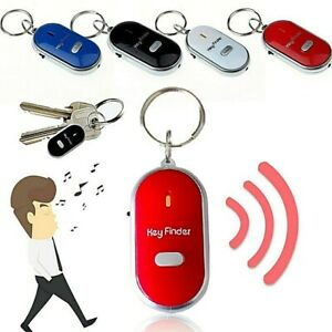 Whistle Key Finder Anti Lost Remote Chain Locator LED Flashing Beeping Keyring