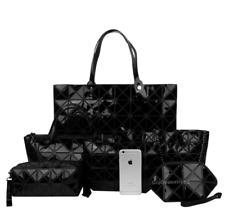 Women's Geometric Patterned Bags Set Shoulder Bag Satchel Messenger - Black