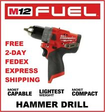 MILWAUKEE M12 FUEL Brushless Cordless 1/2 in. Hammer Drill (2504-20) BARE TOOL