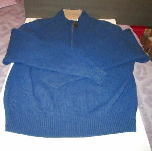 ORVIS Size L PULLOVER 1/4 Zip SWEATER Mock Neck WOOL & CASHMERE Royal Blue