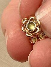 Pandora Green Peridot Cabochon Flower 14ct 14k Gold Spacer Charm 750343PE Rare