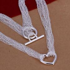 Damenhalskette HerzSchmuck 45cm Halskette Kette pl. mit  Sterlingsilber