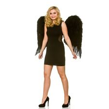 Deluxe Black Feather Wings Ladies Bad Fairy Fancy Dress Halloween Accessory