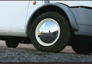 "x2 13"" Wheel Trims caps Cream & Chrome Moon Disc Barefoot Retro Caravan"