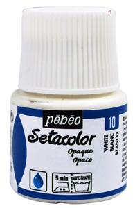 Pebeo Setacolor Opaque Fabric Paint 45-Milliliter Bottle, Titanium White