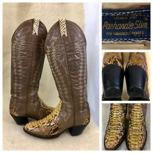 Panhandle Slim Snake Leather Boots Women US Sz 6 B #18440 By Sanders Handcrafted