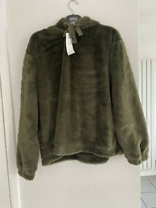 BNWT Next Downtime Loungewear Green Furry Oversized Hoodie Size 6 Christmas Gift
