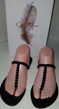 Jessica Simpson Karlee BLACK SHIMMER SAND Leather Thong Sandal $60 SZ.7.5M
