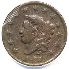 1833 N-3 ANACS VF 20 Details Struck on Spoiled Blank Matron Head Large Cent 1c