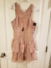 NWT BCBG Maxazria Size 8 Dress Ruffle lace Pink Rose Gold