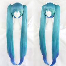 Vocaloid Hatsune Miku Blau Cosplay Perücke wig Long Lang Zopf Kimono Version