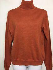 Brooks Brothers Turtleneck Sweater Womens L Orange Merino Wool Silk Cashmere