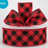 """🎀 Christmas Red/Black Diagonal Check Wired Ribbon 2 1/2"""" Wide X 5 YARDS~"""