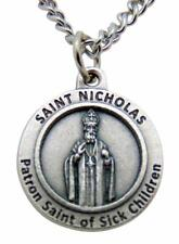 St Nicholas Round Patron Saint Medal with Stainless Steel Chain Made in Italy