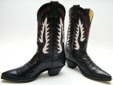 WOMENS NOCONA FLAME INLAY WHITE RED BLACK LEATHER COWBOY WESTERN BOOTS SZ 5 C 5C