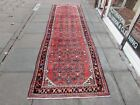 Vintage Traditional Hand Made Oriental Red Pink Wool Long Runner 393x114cm