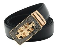 QHA Mens Designer Automatic Jesus Cross Belt Luxury Ratchet Vintage Auto Buckle