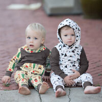Toddler Infant Baby Boy Cartoon Hoodie T shirt Tops Pants Outfits Set Clothes