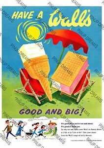 Vintage Poster Walls Ice Cream Advert re-print Wall Art in various sizes