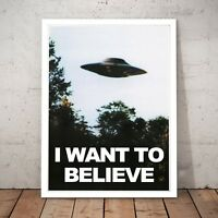 "X-Files ""I Want To Believe"" Art Poster Print Man Cave - A4 to A0 Framed"