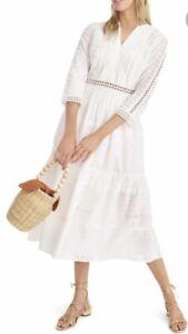 AMAZING $168 J. Crew White Cotton Eyelet Peasant Prairie Midi Dress M0617 SZ 4
