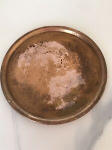 """Vintage~Solid Copper~9 1/2"""" Round Platter/Tray  Unbranded Used"""